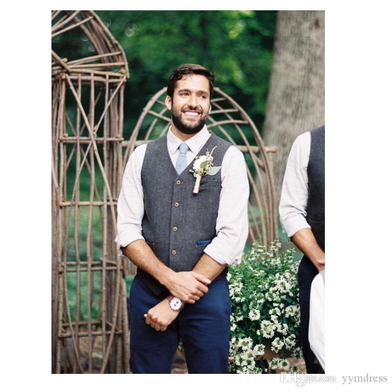 Gray Wool Tweed Groom Vests Formal Groom's Wear Suit Vest Men's British Style Wedding Tuxedo Waistcoat Plus Size