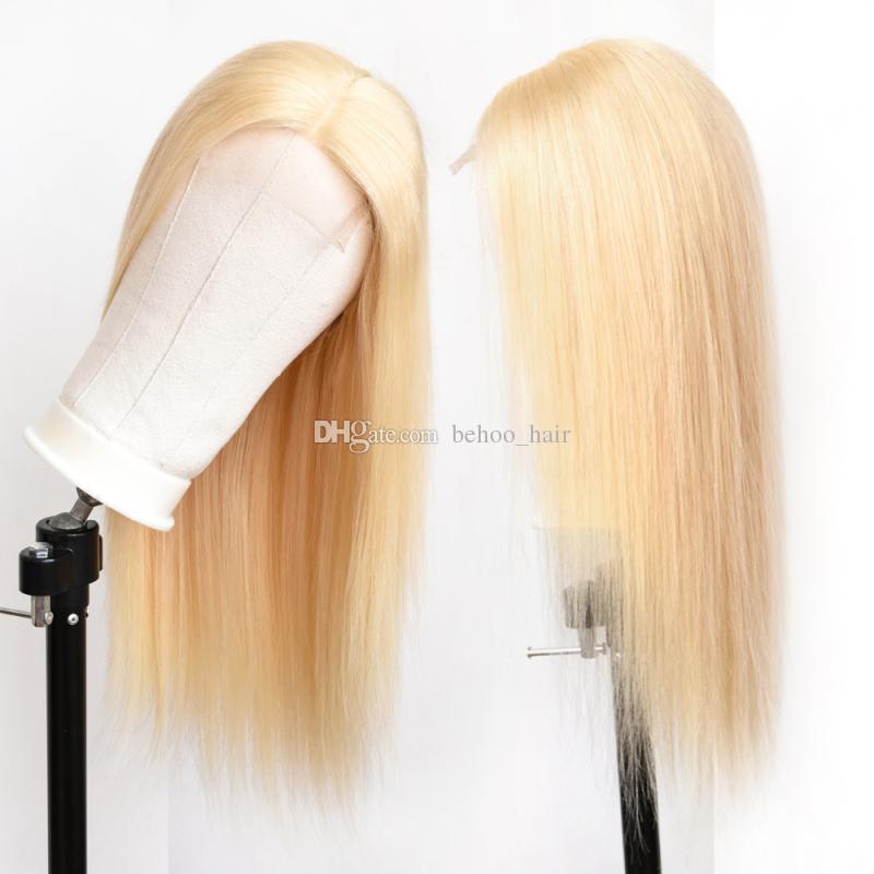Reines menschliches haar 613 blonde seide top volle spitzeperücken spitzefrontseite perücken gerade natürliche haaransatz gebleichte knoten babyhaar um für frauen