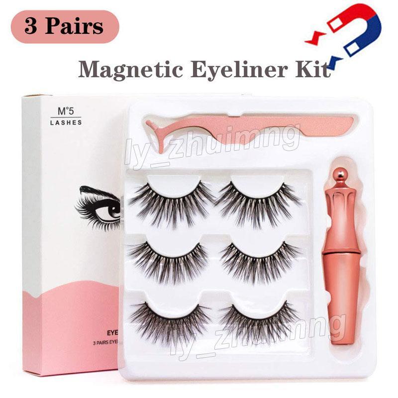 Magnetic Eyelashes with Eyeliner and Tweezer 3 Pairs 5 Magnetic False Eyelashes Liquid Eyeliner Makeup Set Reusable eyelash No Glue Needed