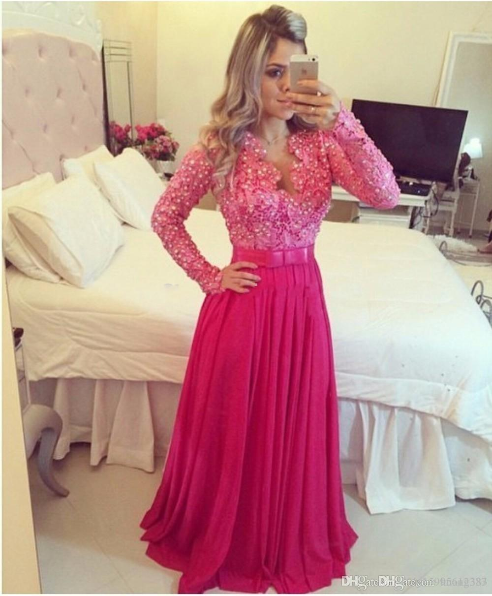 2019 New Long Sleeve Prom Dresses with V-neck Luxury Handmade Pearl A-line Bow Knot Chiffon Plum Pink Prom Gowns Evening Dress150
