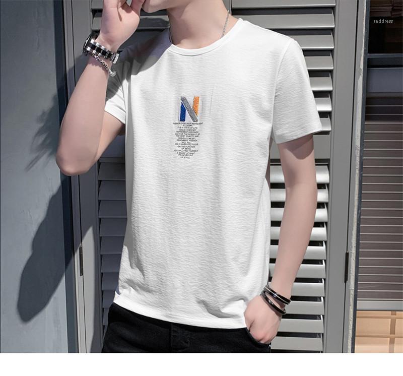 Отпечатано Summer Mens тройники N Quick Dry Mens Designer Tshirts Solid Color шею с коротким рукавом письмо