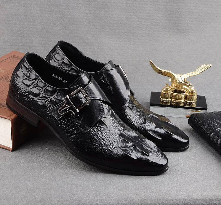 Классические туфли мужские на ремне с пряжкой из натуральной кожи с рисунком аллигатора заостренные пальцы умные повседневные ботинки с увеличенной высотой