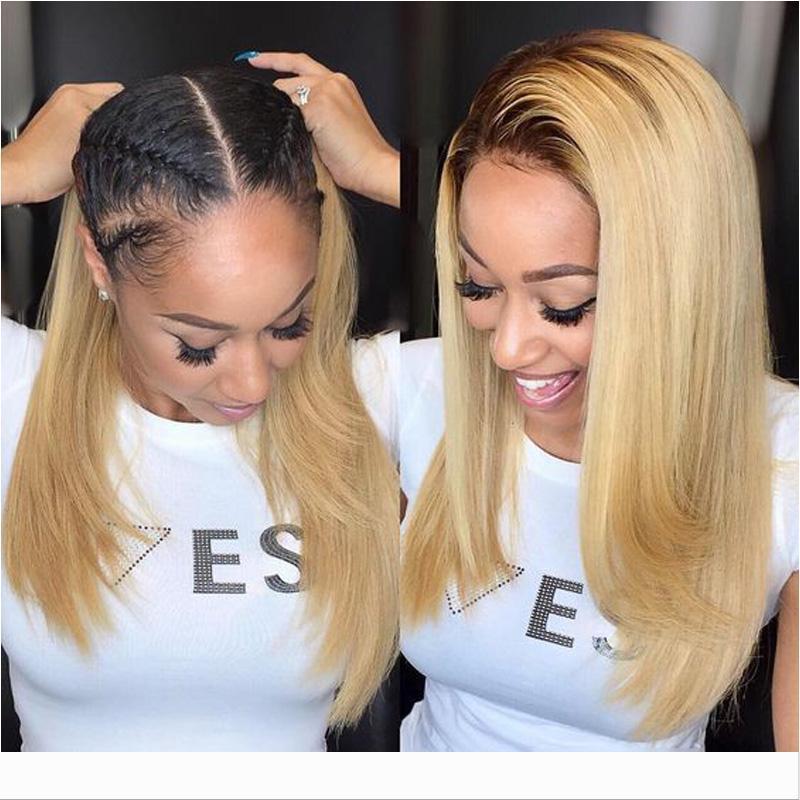 Loiro Ombre laço do cabelo humano Perucas Bob Short Cut Virgin peruana Pré arrancada Glueless 1b escuro Root 613 peruca cheia do laço para as mulheres