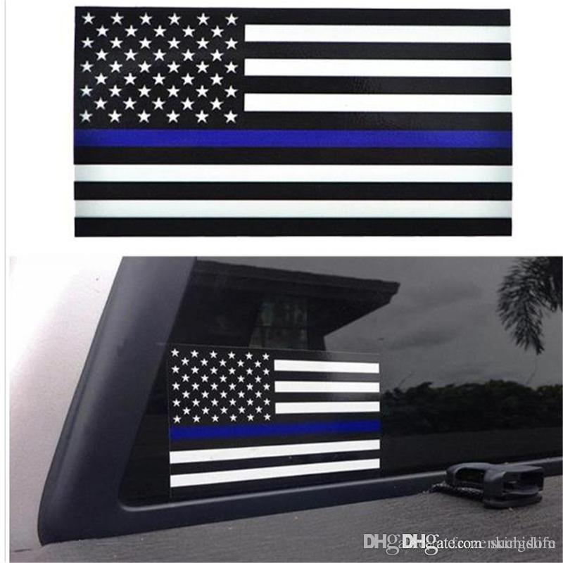 US American Flag Decal Sticker Emblem for Cars and Trucks 2 x Thin Blue Line