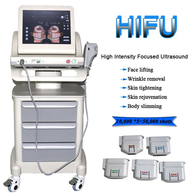 HIFU High Intensity Focused Ultrasound hifu Face Lifting Machine Skin Rejuvention With 5 Heads For Face And Body