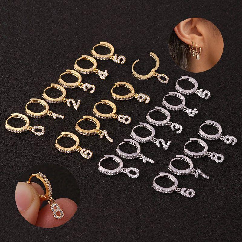 Pendientes de la perforación del cartílago personalizada pendientes pendientes de circón exquisito creativa de los números árabes