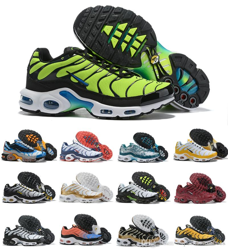 Hot Sale 2019 New Air Plus Shoes For Design Men Air Tn Qs Sports Shoes Cheap Tn Requin Breathable Mesh Black White Red Trainer Sneakers