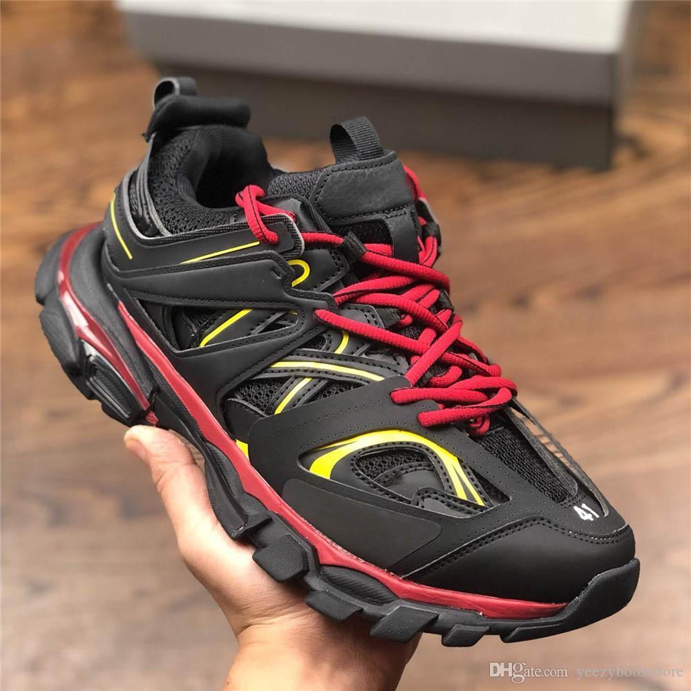 أحذية italianTrack المدربين 3M عاكس جمعه تيس S باريس أسود أحمر أزياء الرجال والنساء الثلاثي S عالي الكعب حذاء رياضة حذاء عرضي تريك