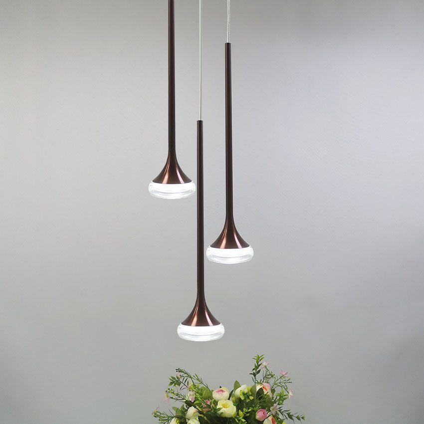 (36) 머리 현대적인 주도 펜던트 커피 컬러 알루미늄 아크릴 노르딕 조명 매달려은 식당 계단을 생활 램프 점등