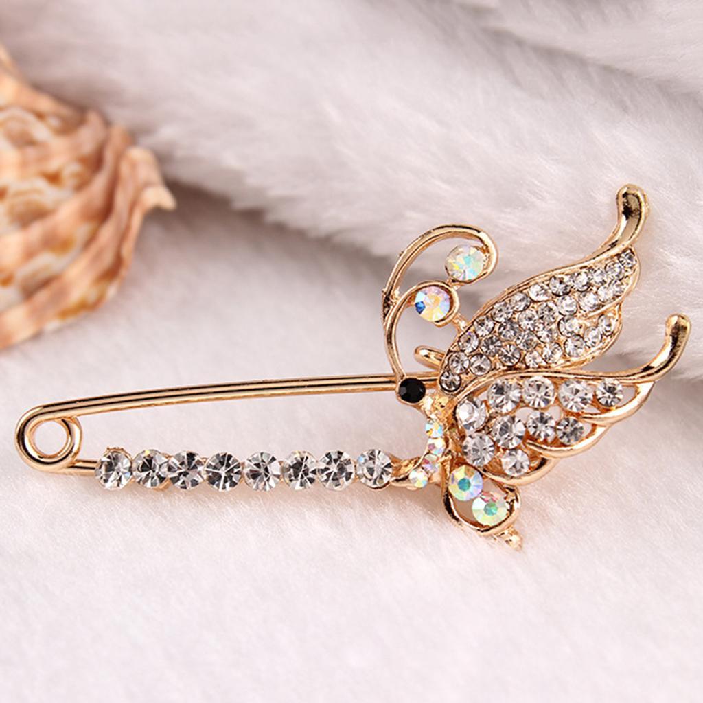 Femmes Cristal Papillon Broche Pins insectes Broche épinglette Grande goupille de sécurité