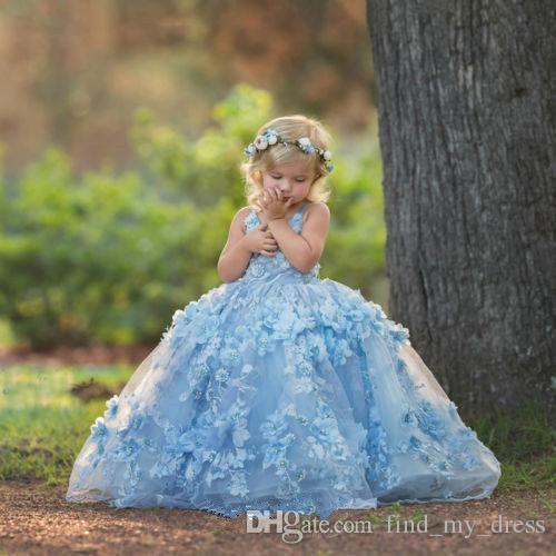 Festa de casamento moderna organza 2019 céu azul novo feito sob encomenda feita princesa longa crianças feitos artesanais flor menina vestido bola vestido comprimento chão cruz