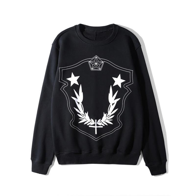 Mens Designer Pullover Stars Printed Long Sleeve Sweatshirt 2 Colors Crewneck Tops for Spring Autumn Free Shipping