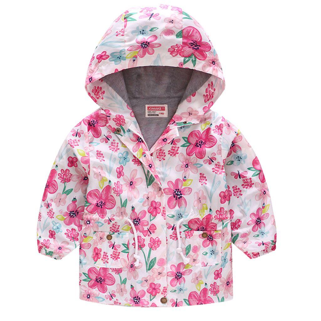 Toddler Kids Baby Girl Boy Floral Sweatshirt Hooded Hoodie Outwear Coat Clothes Hot Coat