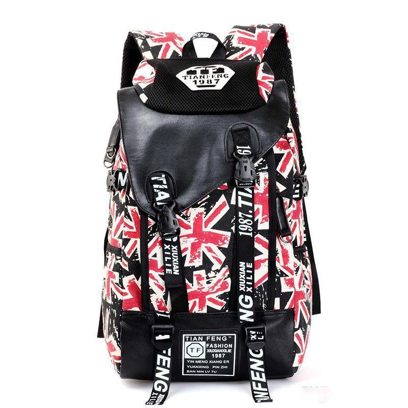 Al por mayor New Super Grande manera fresca Ocio mochila de lona bolsa de viaje para hombres y mujeres Gran Bretaña Bandera Doodle impresión de la letra
