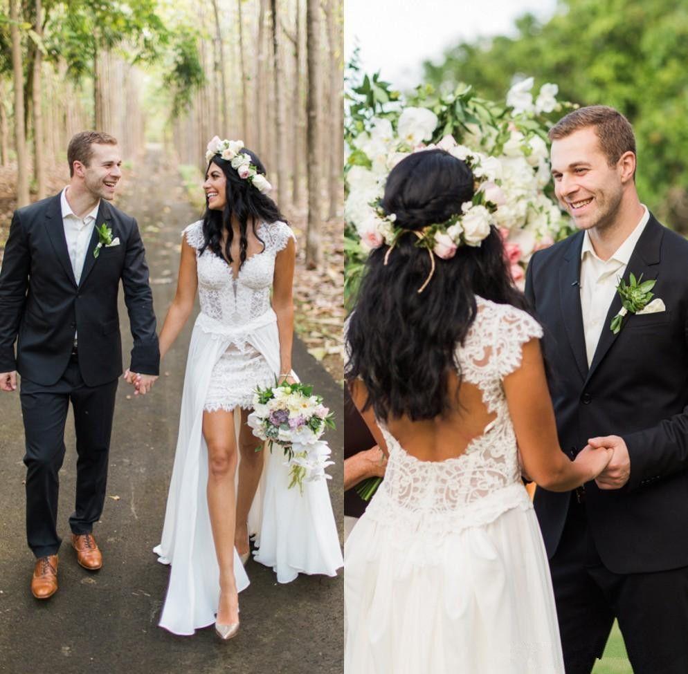 Короткие свадебные платья без рукавов со съемной юбкой Свадебные платья с кружевным вырезом и V-образным вырезом с рукавами Спинки Винтажные свадебные платья A84