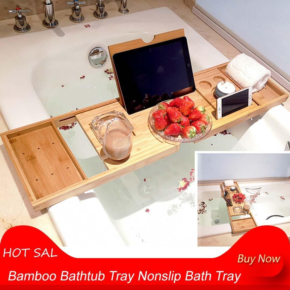 Bambus Badewanne Tray Nonslip Badewanne Tray Spa Badewanne Organisator-Buch-Wein Tablet-Halter Lesen Rack95 * 22,5 * 3cm