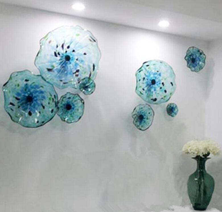 Son Stil Murano Çiçek Lambaları Plaka Sanat Mavi Renk Lüks 100% El Üflemeli Cam Asılı Plakalar Tarak Kenarları Şekil