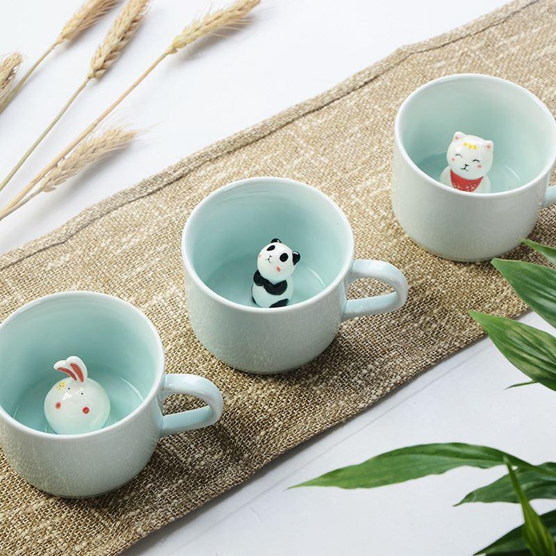 2019 Arrive Creative Cartoon Nouveau tasses en céramique mignon des animaux de café tasse de lait Thé 220ml Nouveauté Cadeaux d'anniversaire Mugs