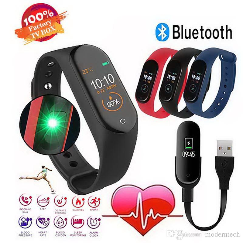 Smart Watch M4 Heart Rate Monitor Impermeable Fitness Watch Presión arterial Bluetooth Smart Bracelet para iPhone Xiaomi