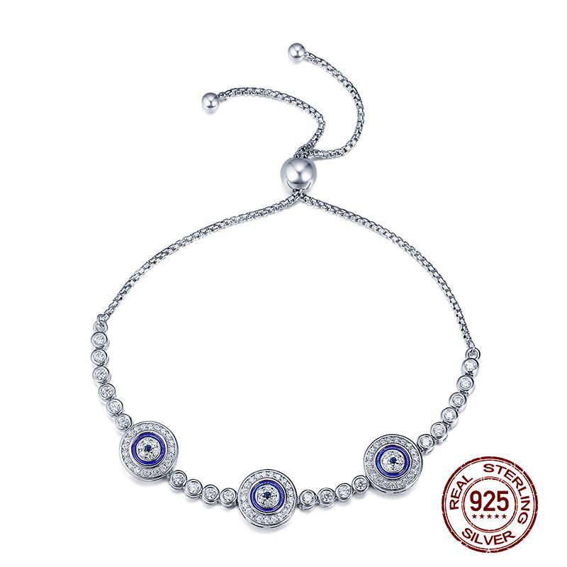 Regalos de la joyería de los ojos azules pulseras ajustables Nuevo partido moda circonio cúbico mujeres 925 pulsera Femme