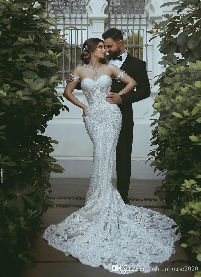2020 Luxury Arabic Mermaid Wedding Dresses Sweetheart Lace Appliques Sleeveless Illusion Court Train Plus Size Open Back Formal Bridal Gowns