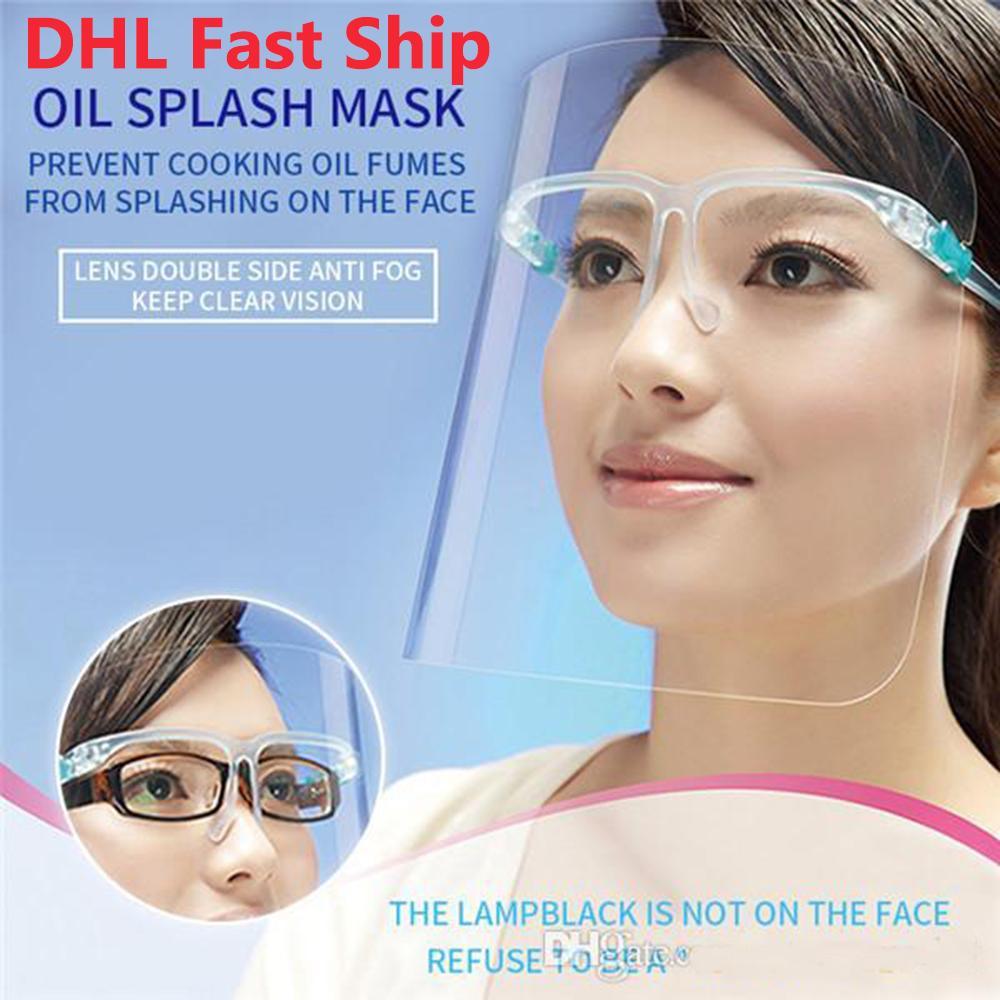 DHL Nave Chiaro di protezione del lato Shield Mask schermo di plastica Isolamento di protezione maschera di protezione piena anti-fog Olio Protettivo riutilizzabile mascherina del partito