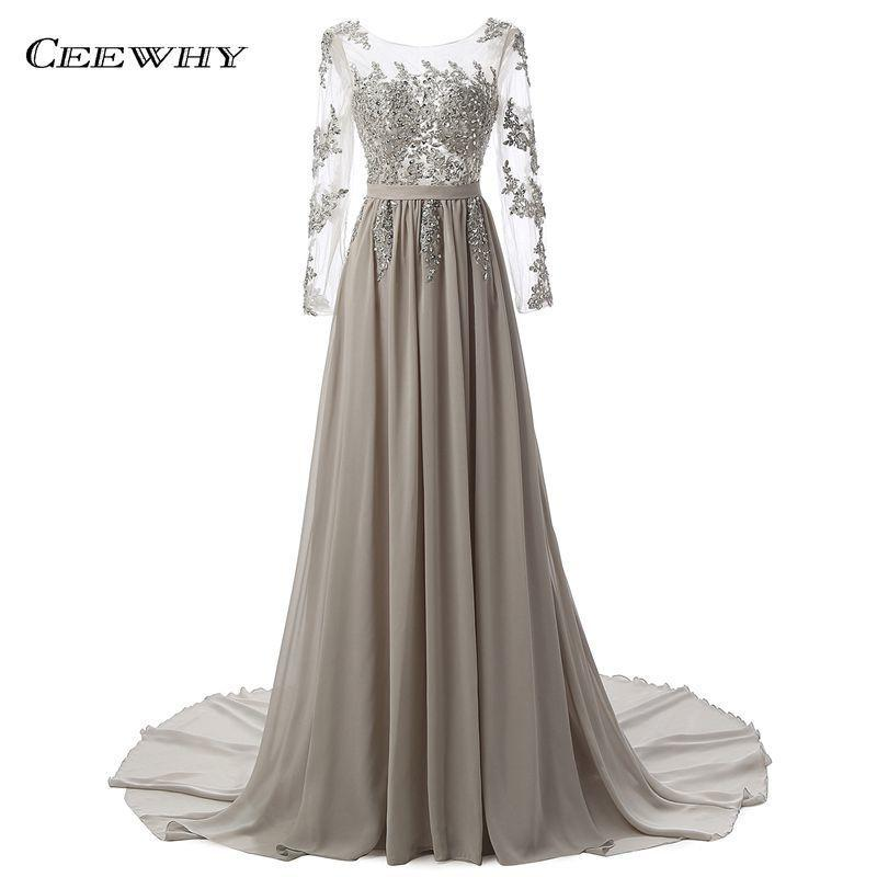 Ceewhy Crystals Beaded Chiffon Prom Dresses Backless Mesh Evening Dresses Long Party Formal Maxi Lace Dress Robe De Soiree Y19051401