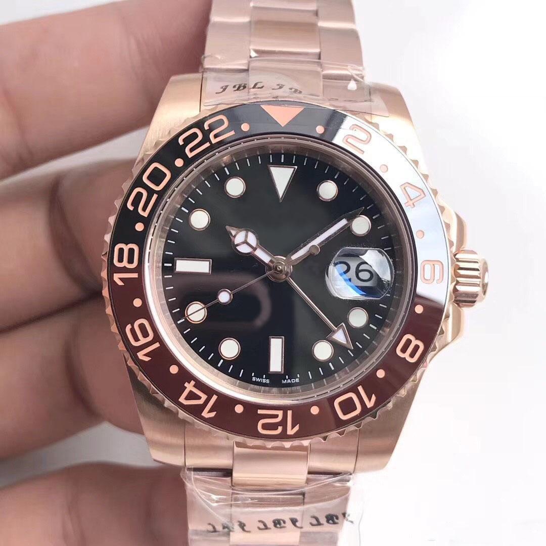 Nueva Serie 2020 GMT Movimiento mecánico automático 126711CHNR 40MM Sapphire espejo de la correa de oro rosa anillo de cerámica plegable original