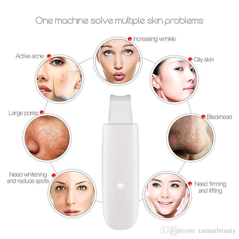 La machine de nettoyage profonde de visage d'épurateur ultrasonique de peau enlèvent le point noir de saleté réduisent des rides et des taches soulageant le blanchiment du visage
