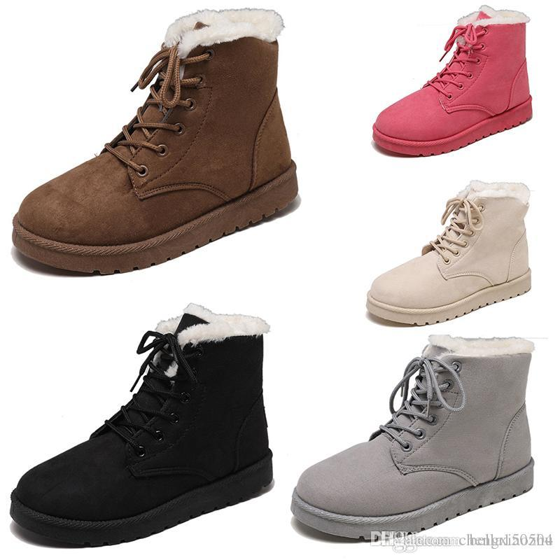 Top quaility neve botas de couro de Inverno Mulheres Austrália clássicas botas de tornozelo lace-up Cinza Preto Castanho Bege Fúcsia as sapatas das mulheres meninas