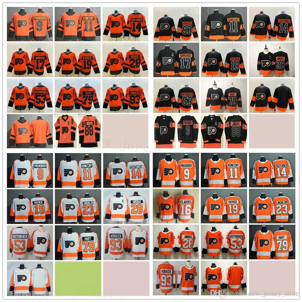 Philadelphia Flyers Hockey 23 Oskar Lindblom 28 Claude Giroux 88 Eric Lindros 53 Shayne Gostisbehere 79 Carter Hart 93 Jakub Voracek Maglie