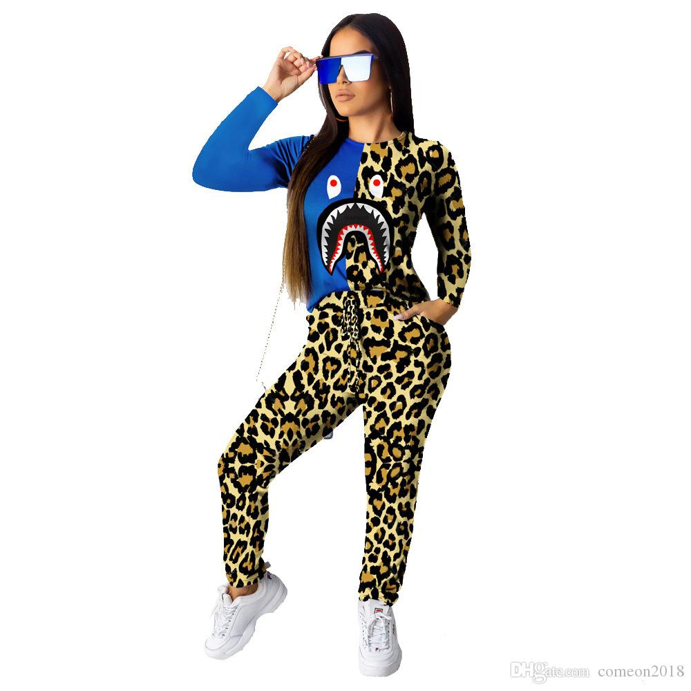 Compre 2020 Spring Autumn New Designer Women Pantalones De Dos Piezas Set Leopard Manga Larga O Cuello Camiseta De Moda Top Pant Suit Casual Sport Chandales A 10 88 Del Comeon2018 Dhgate Com