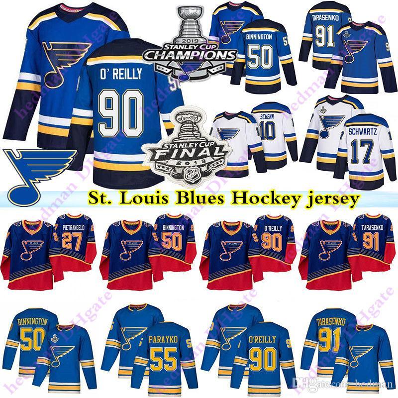 2019 Stanley Cup Champion St.Louis Blues Jerseys 90 Ryan O'Reilly 50 Binnington 91 Vladimir Tarasenko 17 Schwartz Pietrangelo Hockey Jersey