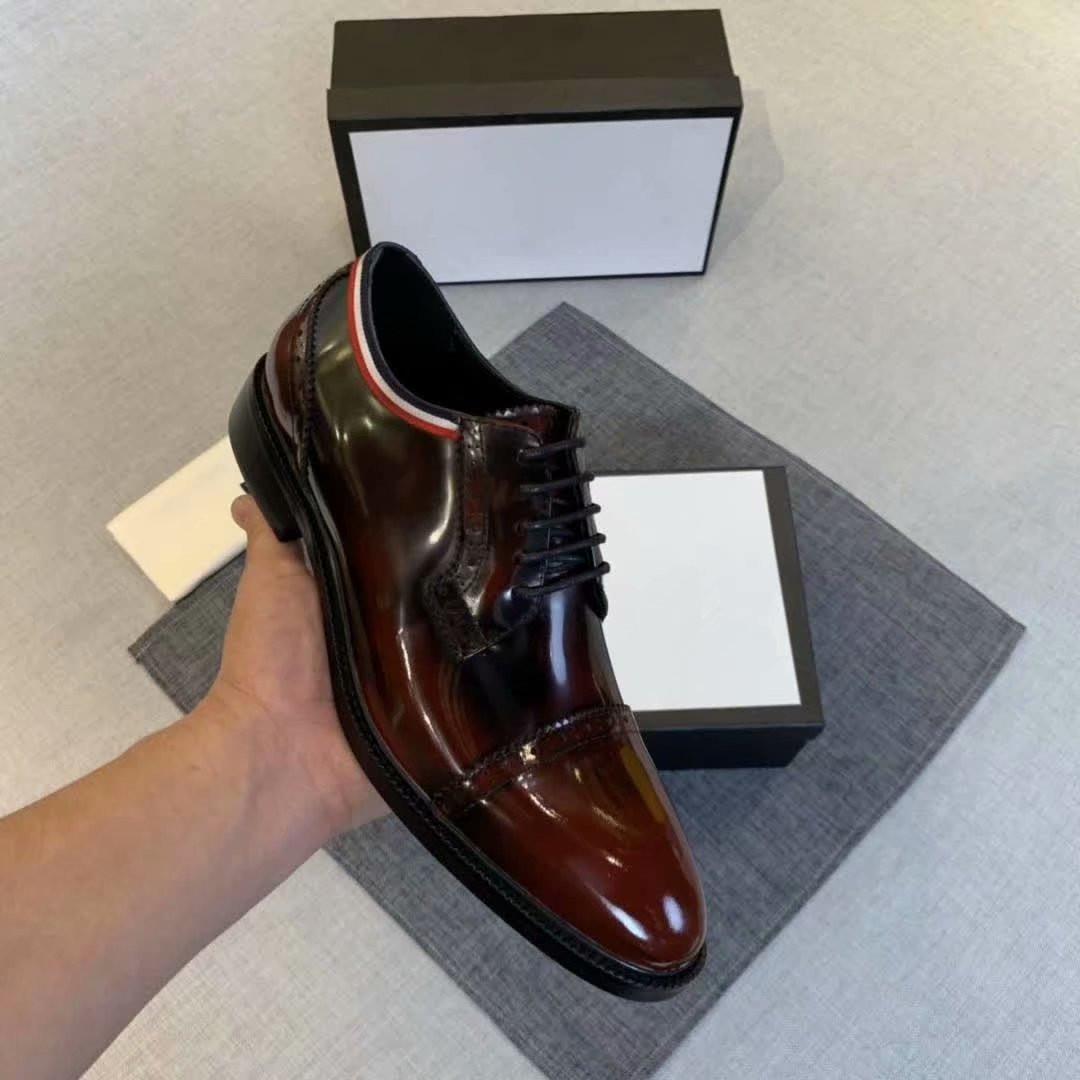 2020ss nuovo design di lusso Wedding Party Shoe Designer nero marrone matrimonio in vernice Scarpa per la Mens Oxfords italiani