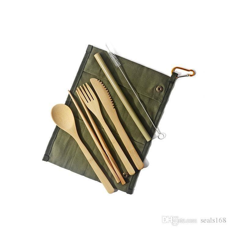 New Bamboo Set avec sac cultery 7PCS PORTIER Voyage Flatwar Set couteau fourchette cuillère Chopsticks Vaisselle Arts de la table Ensembles HH9-A2540
