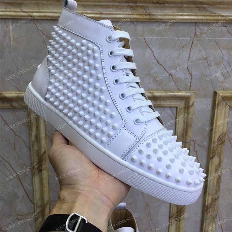 Top Designer Hommes Femmes Parti véritable pailleté Bas cuir clouté Spikes Flats Chaussures Baskets mode de luxe Chaussures Casual Chaussures
