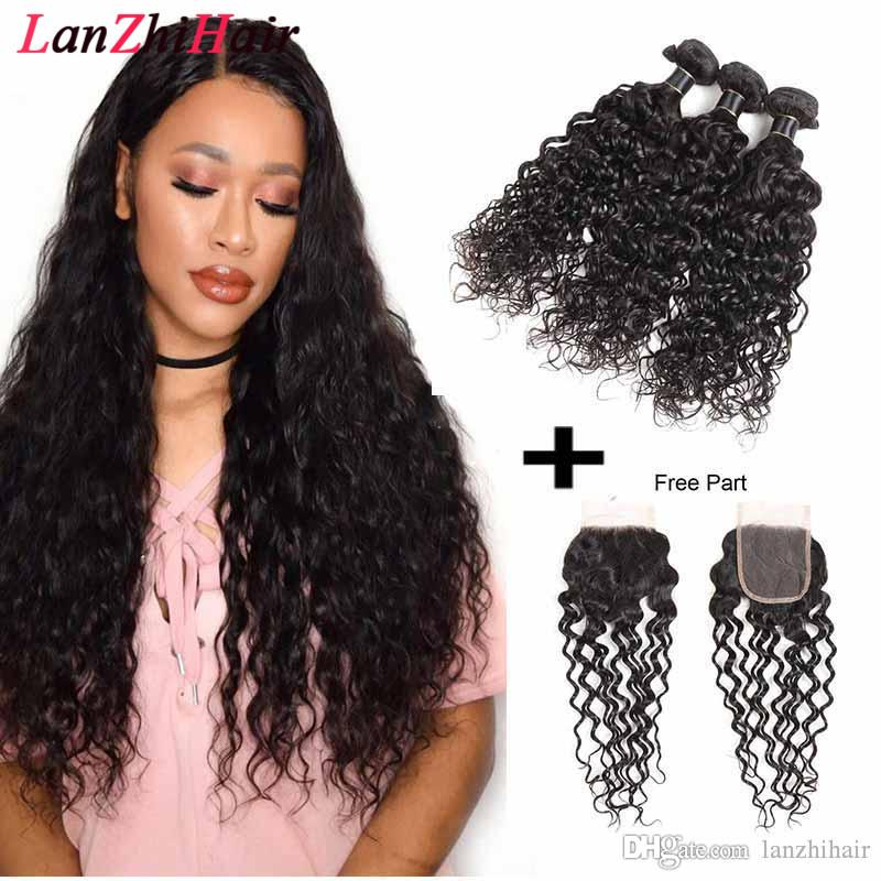 Grade 8a Brazilian Virgin Hair Water Wave Human Hair Wefts Malaysian Virgin Hair Bundles With 4X4 Lace Closure Free Middle Part