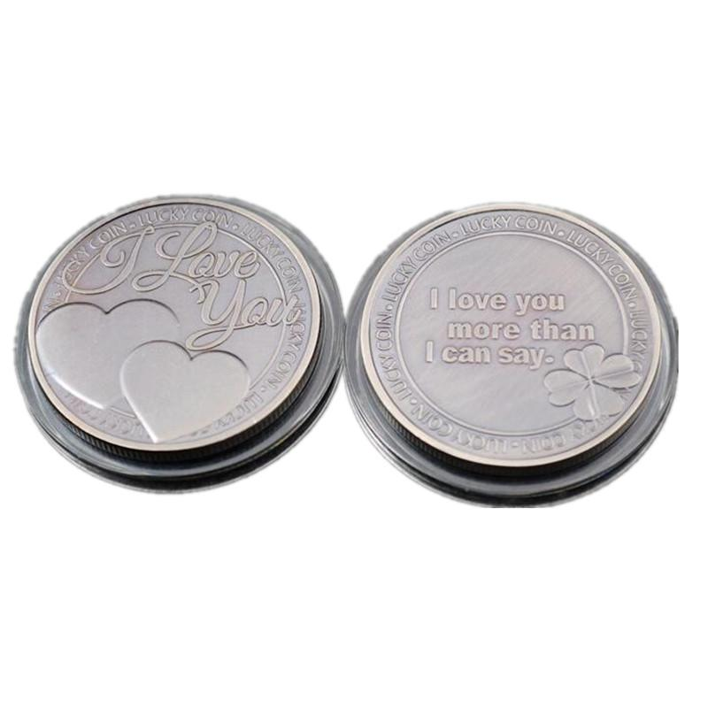 10 pcs SLMTTG antique silver plated heart coin I LOVE YOU MORE THAN I CAN SAY 40 mm badge collectible decoration souvenir coin