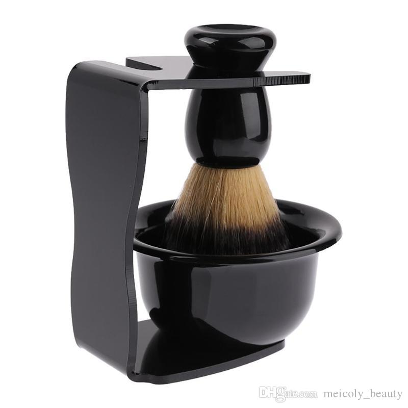 3 in 1 Shaving Brush Badger Handle Synthetic Shaving Bowl Mug Razor Stand Holder Set Beard Brush For Barber Men
