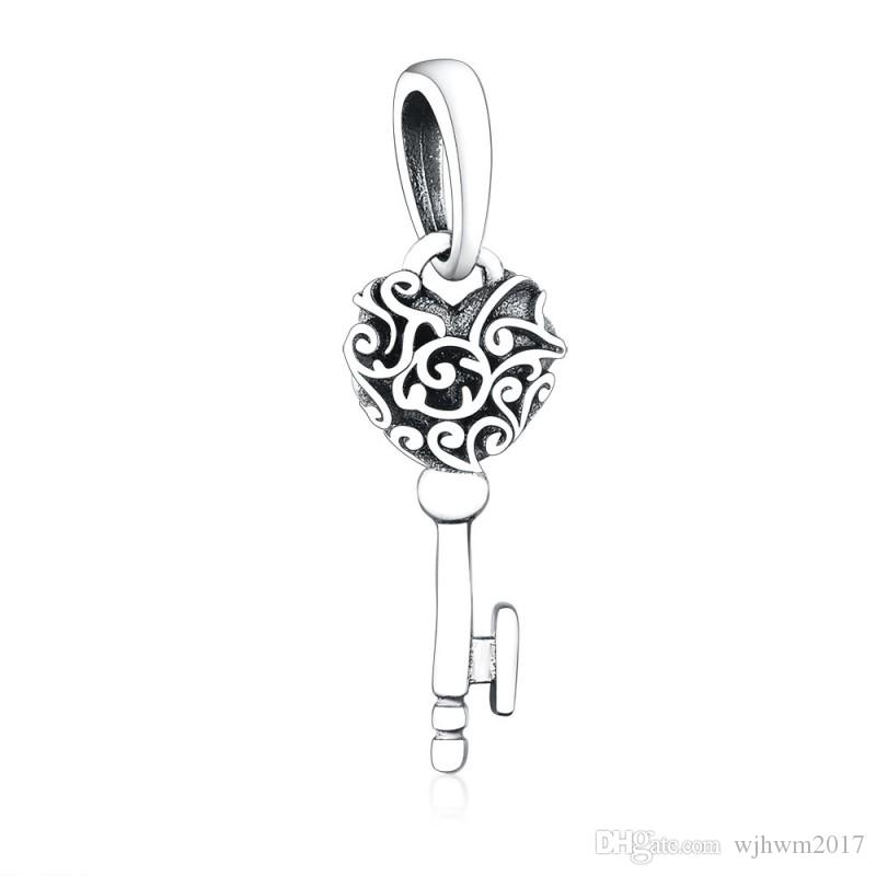 New Authentic 925 Sterling Silver Bead Charm Vintage Lacework Love Heart Regal Key Necklace Pendant Fit Brand Charm Bracelet Diy Jewelry