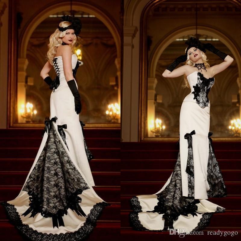 خمر 2019 الأبيض الأسود الرباط الفيكتوري فساتين زفاف رخيصة القوطية الحبيب الحرير القوس الدانتيل احتياطي طويل أثواب الزفاف مخصص