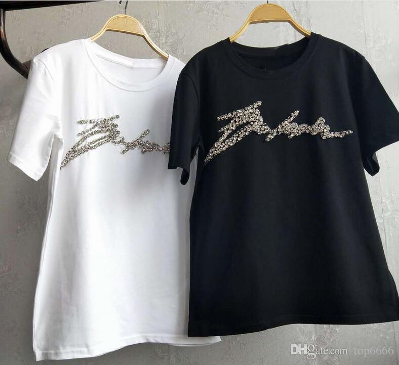 T-shirt en coton pour femmes été Nouvel arrivé marque de mode classique chaude original Ins Ladies Loose doux Sexy col rond Diamant lettre T-shirt