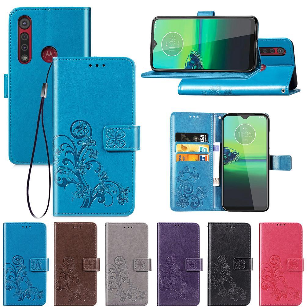 Pour Moto G8 Jouer Phone Cases en cuir PU Couverture chanceux Trèfle à quatre avec carte portefeuille sous Dragonne (G8Play)