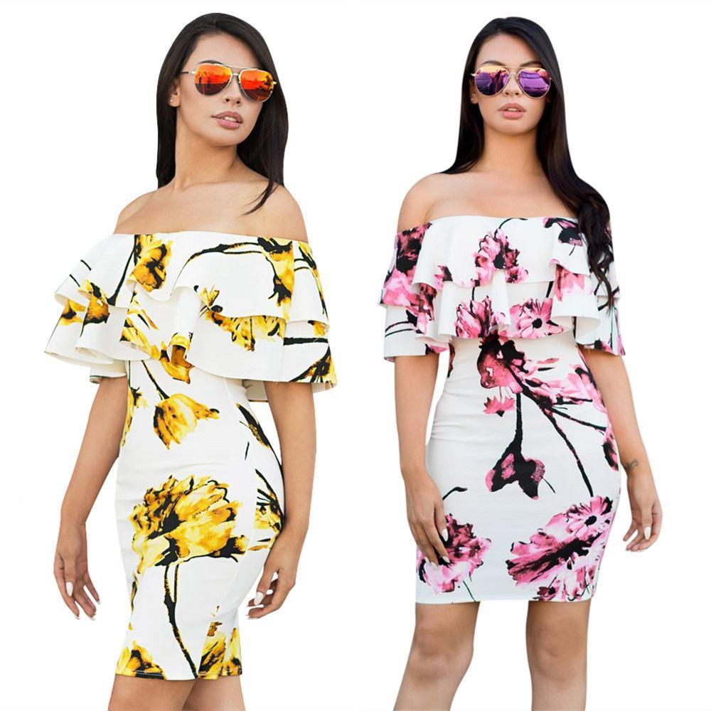 kadınlar tasarımcı maksi elbiseler elbise elbiseler seksi kısa patlama modelleri çift çiçek elbise ince karıştırdı