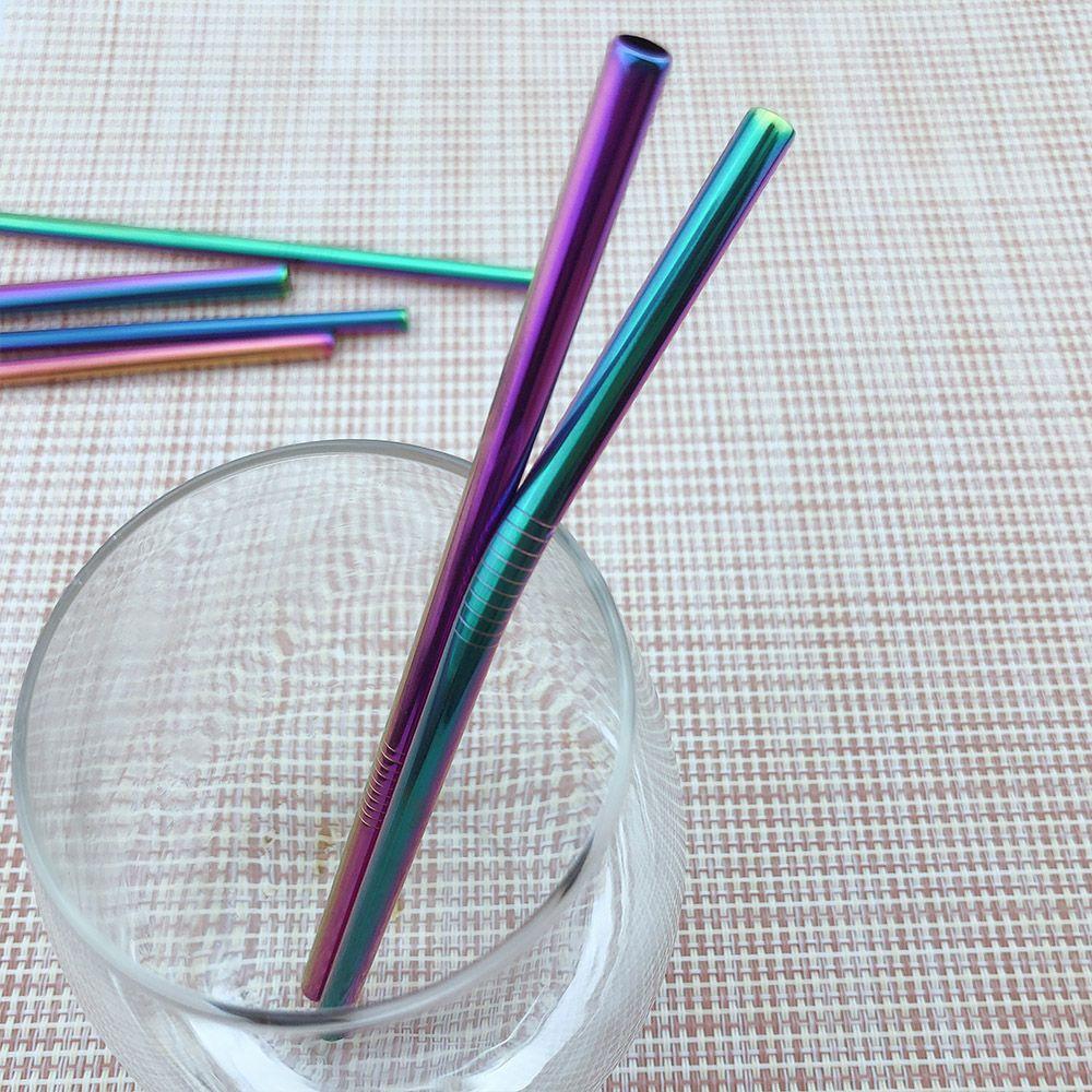 2 шт. / лот многоразовые питьевая металлическая солома из нержавеющей стали солома с 1 чистой щеткой сок соломы для дома партии Barware аксессуары