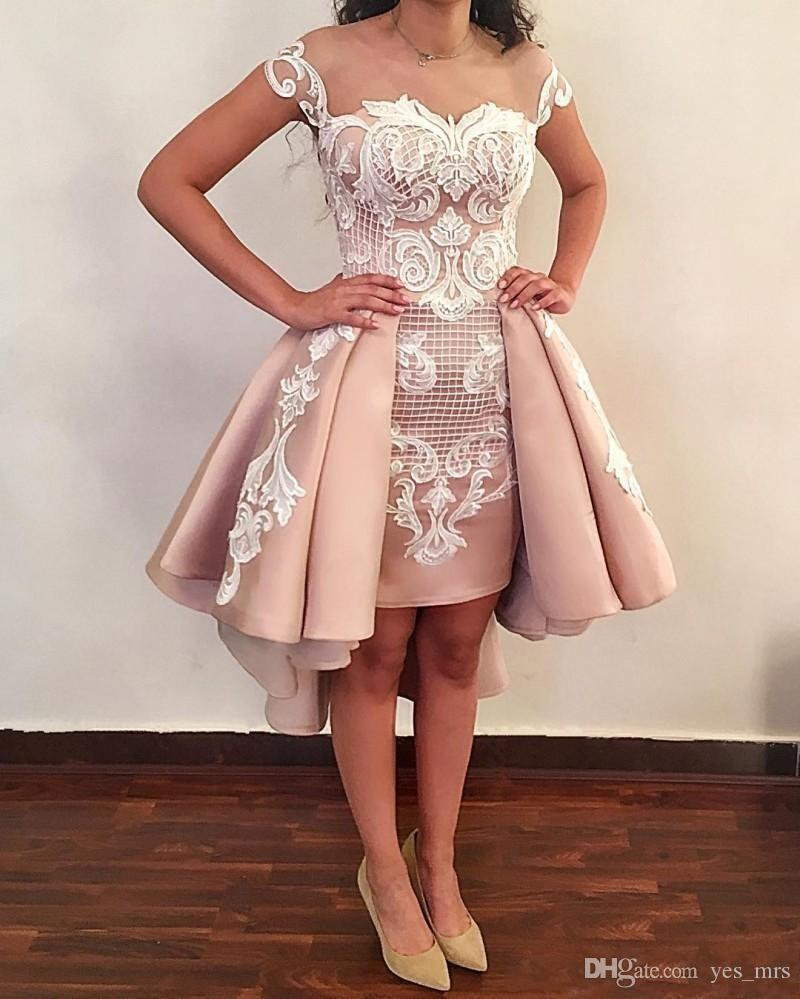 Blush cor-de-rosa overskes curto vestidos de cocktail novo branco mangas brancas laço applique aberta volta vestidos de baile para graduação vestido de regresso ao vestido