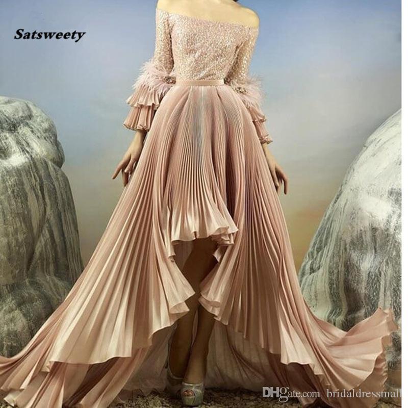 Arábia Árabe Alta Baixa Vestidos completa mangas brilhantes lantejoulas plissadas longa noite vestidos Feather Vestido Longo