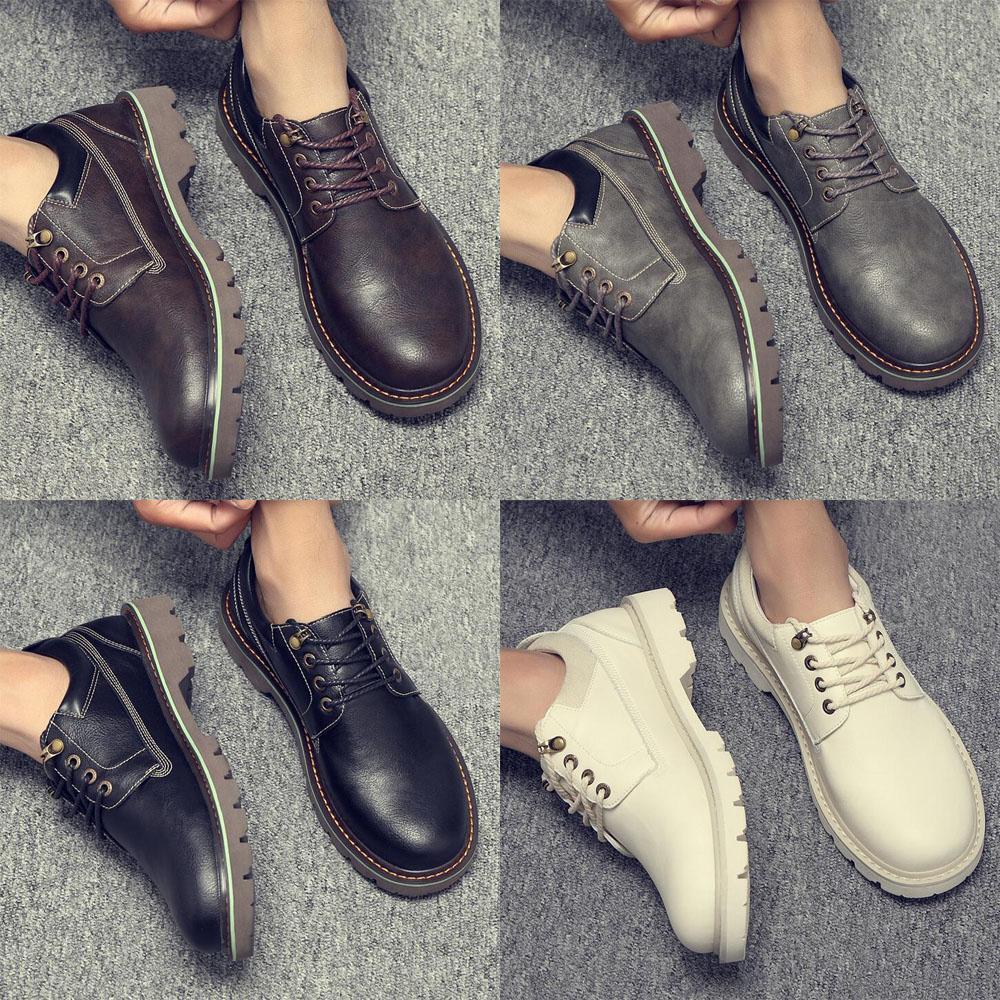 2020 Erkekler Yaz Vintage Açık Deri Su geçirmez Işık Çizme Düşük üst Lace Up Günlük Ayakkabılar Ayak bileği Boots