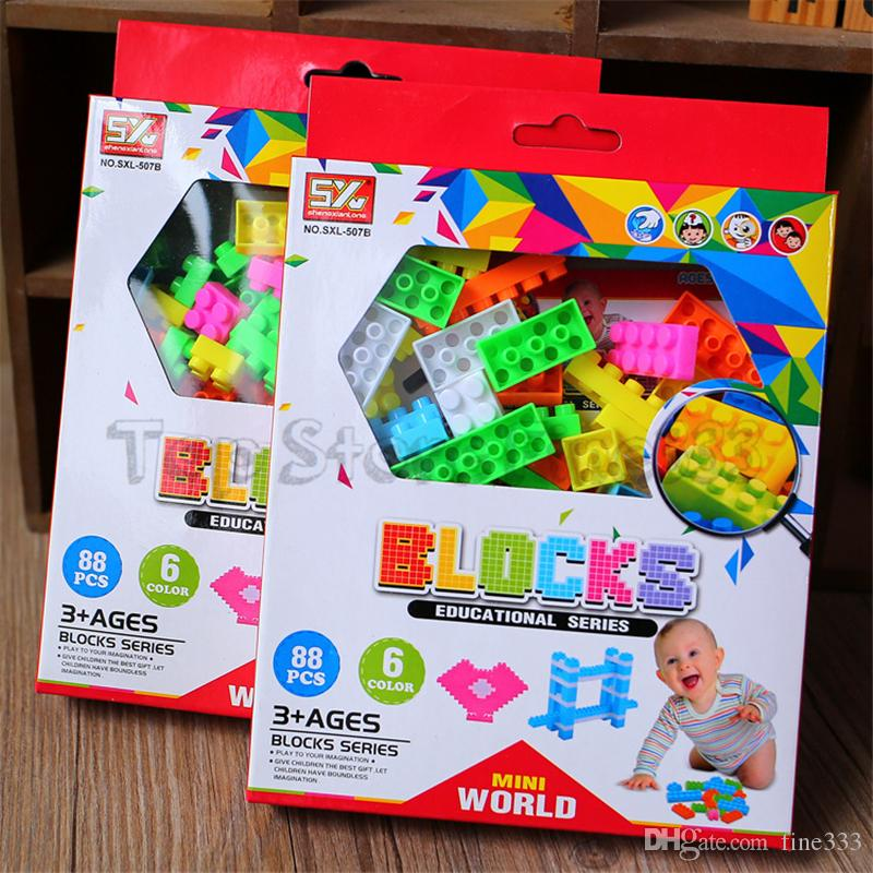 Bebek Yapı Taşları 88pcs / Duploe Renkli Bloklar Bricks ile lot Bebek Eğitim Oyuncakları DIY Yapı Taşı Aksesuarlar Uyumlu