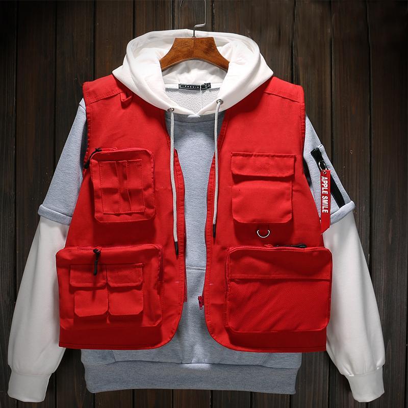 Uniforme de otoño de alta calidad de la marca chalecos tácticos militares chalecos de caza multi bolsillo chalecos director voluntario Yelek Erkekler T200103